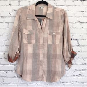 Joie Plaid Button Down Shirt New Small